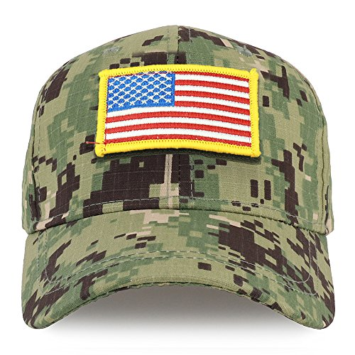 Trendy Apparel Shop Youth Military Yellow Standard American Flag Patch Tactical Cap - NWU Camo