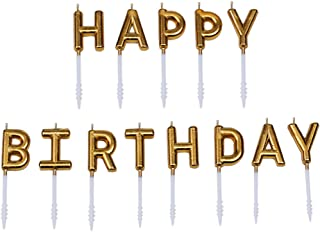 Willcan Gold Color Happy Birthday Candles Cake Toppers,13 Molded Letter Candles for Party time Wedding and Memories Day Decoration and Celebration for Adults and Kids.