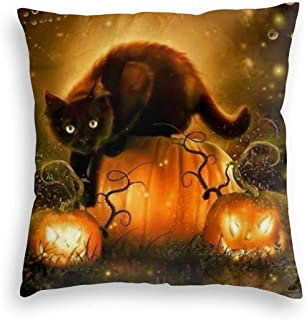 Trendy P-Market Round Rug Soft Velvet Square Decorative Throw Pillow Case for Bar Outdoors, Black Cat and Pumpkin Lantern Happy Hallowen Pattern Retro Cushion Covers, 18x18 Inch
