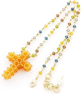 Kurze Halskette Frau Halsband. Rosenkranzkette in verschiedenen Farben kombiniert mit Kreuzanhänger. Handgefertigt mit Swarovski Tupis. Gelber Bernstein