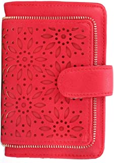 Women RFID Blocking Small Organizer Wallet For Ladies Vintage Hollow Purse Multi Card Holder