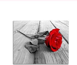 WLKQY Pinturas nórdicas del arte de la pared imprimen la rosa roja en la lona Decoración del hogar del cartel para la deco...