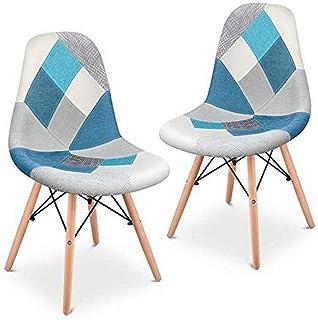 Mc Haus SENA Patchwork - Lot de 2 chaises de salle à manger, tapissé de tissu patchwork bleu, chaises nordique pour salon ...