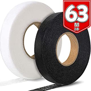 LEOBRO アイロン両面接着テープ 裾上げテープ 2本入り 白黒各1本 63m巻 幅15mm 布用両面テープ すそあげ 洗濯可能 裁ほう 仮縫い 手芸用