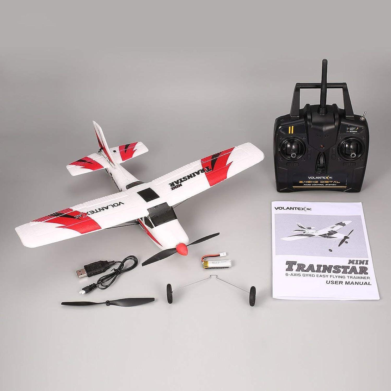 WEIWEITOE VOLANTEX V761-1 2,4 GHz 3CH Mini Trainstar 6-Achsen-Fernbedienung RC Flugzeug Fixed Wing Drone Flugzeug RTF für Kinder Geschenk vorhanden, wei-rot,