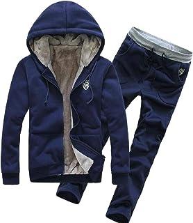 omniscient Men Winter Fleece Sherpa Lined Zipper Hoodie & Pants Sports Tracksuits