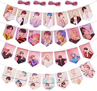 28PCS Map of the Soul: Persona Banner Hanging Flag with 4 x 2 Meter String Perfect for Birthday Party Home Decor