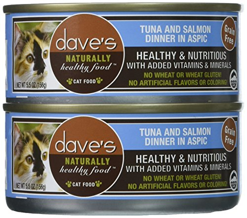 Dave'S Naturally Healthy Tuna And Salmon Dinner In Aspic For Cats, 5.5 Oz Can (Case Of 24 )