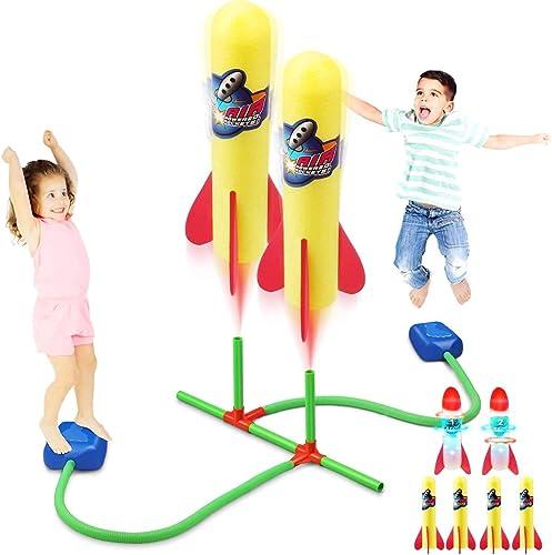 Bonbell Lanceur de Fusée de Duel, Jouet Exterieur Enfant avec 4 Fusée en Mousse + 2 Fusées LED + 2 Lanceur, Jouet Roq...