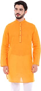 In-Sattva Men's Indian Classic Light Mustard Kurta Tunic with Banded Collar