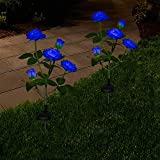 Lámpara solar exterior para jardín, lámparas solares con rosas LED, luces decorativas para el jardín, césped, terraza, campo, camino, color azul, 2 unidades
