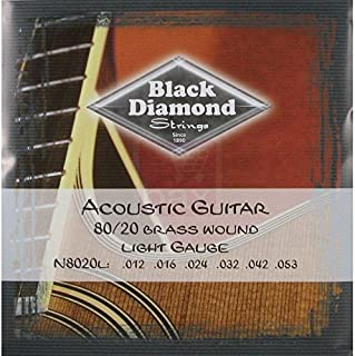 Black Diamond Strings 80/20 Brass Wound Acoustic Guitar Strings 12-53