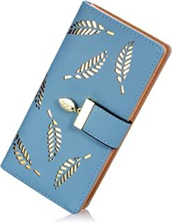 SKUDGEAR Women's Long Leaf Designed Bi-Fold RFID Blocking Wallet Elegant Buckle Clutch Purses
