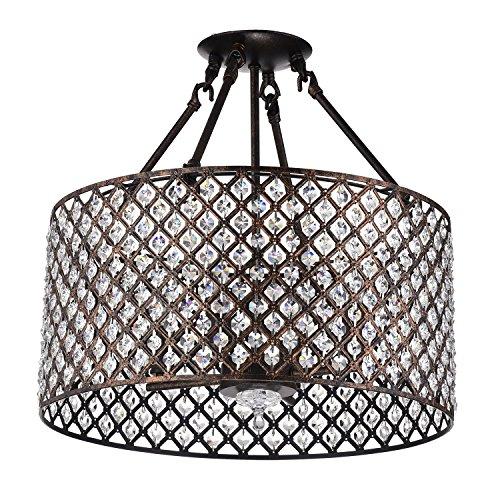 Edvivi Marya 4-Lights Antique Copper Round Drum Semi Flush Mount Crystal Chandelier, Beaded Drum Shade | Glam Lighting