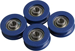 CNBTR 3mm Depth U-groove Blue Plastic Bearing Guide Pulley Wheel 6mm Width for Max-load 59kg Pack of 4