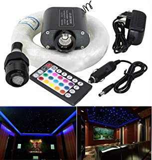 AZIMOM RGBW 16W Led Fiber Optic Light Star Ceiling Lighting Kits Sensory Remote Control for Car Home Sky Headliner Curtain Waterfall End Glow Lighting Decoration 450pcs 0.03in 6.5ft