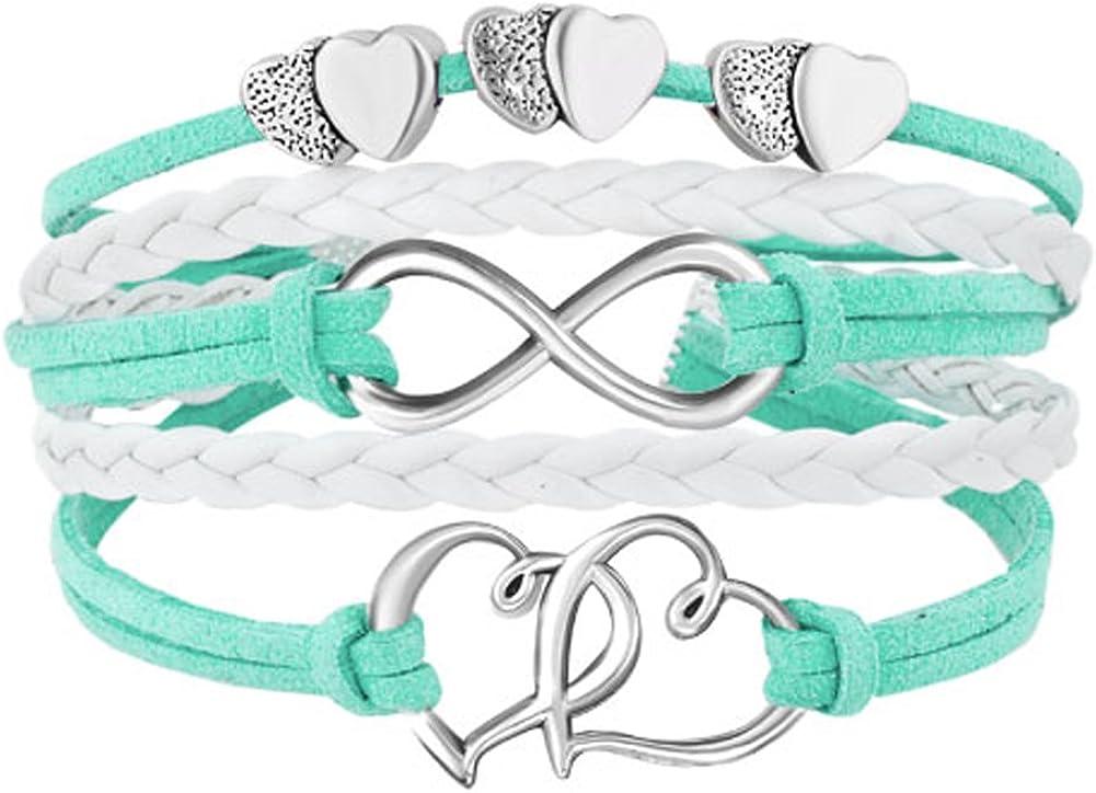 ShinyJewelry Infinity Double Heart Love Wrap Leather Bracelets