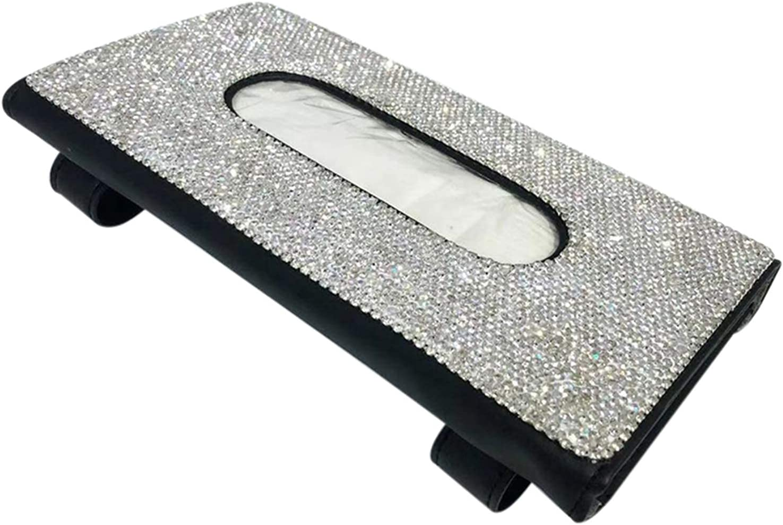 QAQA Sun Visor Car Tissue Box, Bling Car Tissue Box Holder Spark