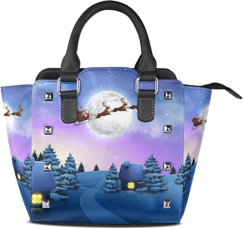 My Little Nest Women's Top Handle Satchel Handbag Snowfall Night Christmas House Ladies PU Leather Shoulder Bag Crossbody Bag