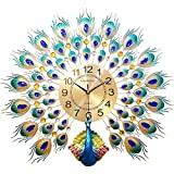 毛皮の壁時計孔雀クリエイティブメタルデザインリビングルームミュートクロックアートクォーツ時計装飾ベルハンギングテーブル(サイズ:60CM * 60CM)