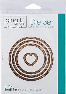 Gina K. Designs for Therm O Web 3 Nested Circle Dies Plus Unique Bonus Shape Double Stitch Design Small Set