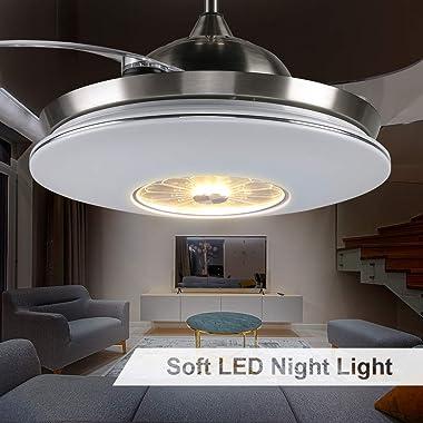 reiga 112CM Ventilateur de Plafond avec Lumières LED à Intensité Variable, Télécommande, Moteur Silencieuse pour Salon/Restau