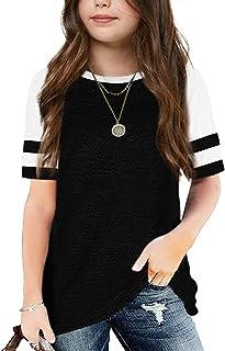 Apbondy Girls T-Shirts Short Sleeve Basic Summer Tops Striped Round Neck Tunic Shirt Blouse