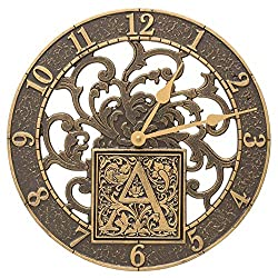 Whitehall Products 02264 Silhouette Monogram 12 Personalized Indoor Outdoor Wall Clock in French Bronze