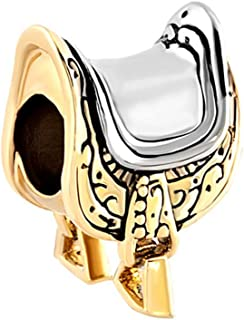 Riding Charms Gold Tone Horseshoe Equestrian Saddle Lover Beads For Bracelets
