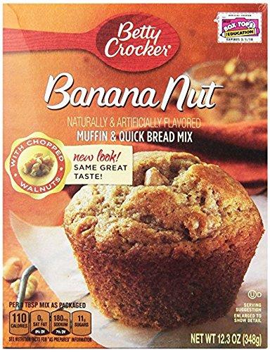 Betty Crocker Muffin & Quick Bread Mix, Banana Nut, 12.3 oz Box (2 Pack)