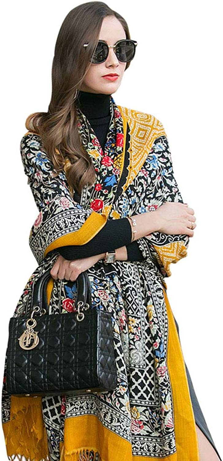Stoles Scarf Shawl Shawl Spring and Autumn and Winter Fashion Warm Long Section Thick Scarf Ladies Travel Shawl (color   Yellow, Size   245  110cm)
