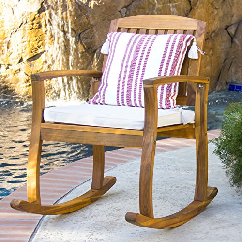 Best Choice Products Outdoor Patio Acacia Wood Rocking Chair w/ Removable Seat Cushion, Brown