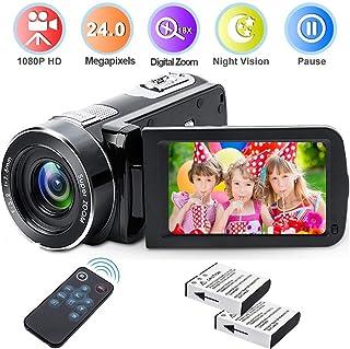 Weton - Videocámara Digital con visión Nocturna por Infrarrojos cámara de vídeo Digital Weton 1080P Full HD 24.0Mega Pixels 18X con Zoom Digital (Dos baterías Incluidas)