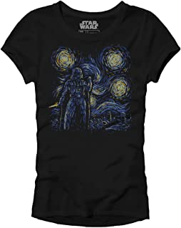 Starry Night Darth Vader Van Gogh Women's Juniors Slim Fit Adult Graphic Tee T-Shirt