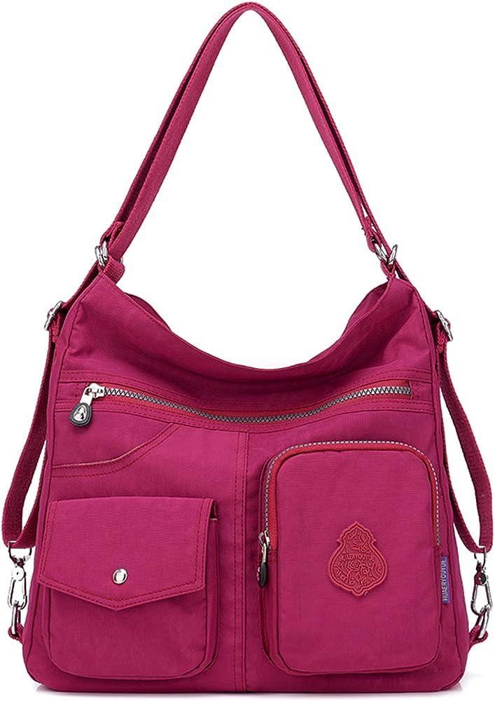 Outreo, borsa/zaino per donna, 100% nylon di cotone di alta qualità, impermeabile, rossa