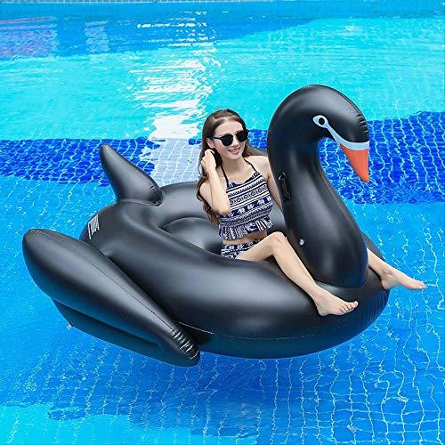 Luckybb Schwarzer Schwan Schwimmende Auspuffbett, Erwachsene Aufblasbare Halterung, Schwimmring, Umweltschutz PVC Wasser Aufblasbare Spielzeug 190x190x130cm