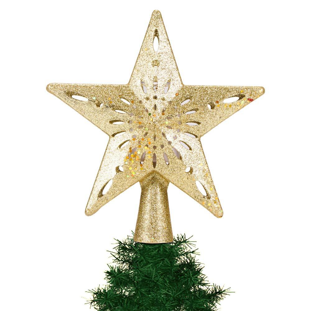 Hinmay Cimier de Sapin de No/ël Lumineux avec /étoiles Scintillantes et rotatives avec projecteur de Flocon de Neige LED pour d/écoration de No/ël
