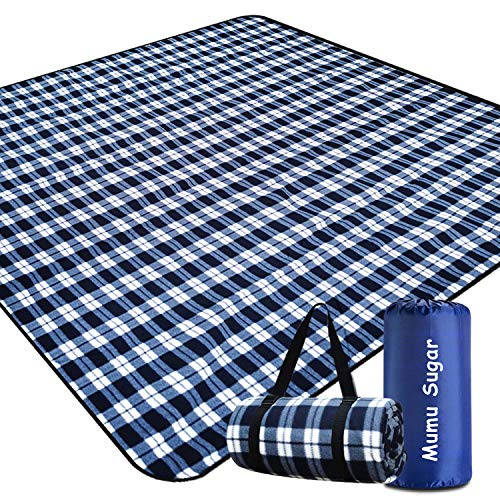 """Mumu Sugar Outdoor Picnic Blanket,Extra Large Picnic Blanket 80""""x80"""" with 3 Layers Material,Waterproof Foldable Picnic Outdoor Blanket Picnic Mat for Camping Beach Park Family Concerts Fireworks"""