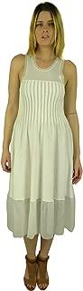 Women's Pleated Sleeveless Knit Midi Dress Off-White Small