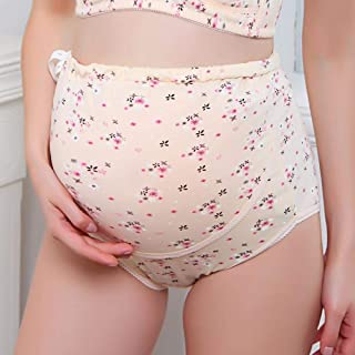 Women Can Adjust High Waist Stomach Lift Cotton Underwear During Pregnancy Postpartum Flower Pattern Breathable Underpants (Color : Beige, Size : XL)