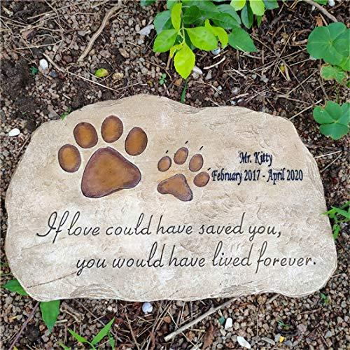 JHB Pet Memorial Stones,Personalized Paw Prints Dog Memorial Stones Tombstones Outdoors or Indoors for Garden Backyard Grave Markers