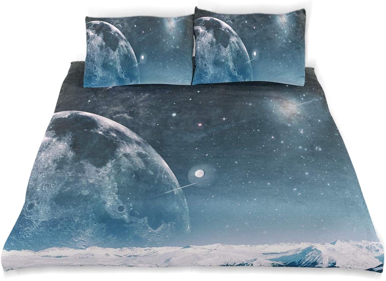 Minalo Parure de lit avec Housse de Couette et 2 taies d'oreiller Motif Univers et l'infini Taille Simple, Tissu, Simple