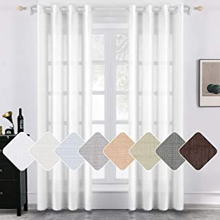 MIULEE 2 Panels Natural Linen Semi Sheer Window Curtains Elegant Solid White Drapes Grommet Top Window Voile Panels Linen Textured Panels for Bedroom Living Room (52X90 Inch)