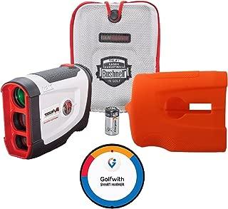 Bushnell Tour V4 Shift (Slope Non-Slope switch) Patriot Pack GIFT BUNDLE - Golf Rangefinder, Protective Skin/Case, Lens Towel, CR2 Battery + Golfwith Smart Ball Marker Golf GPS Complete Solution!