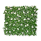 GLANT Expandable Fence Privacy Screen for Balcony Patio Outdoor,Decorative Faux Ivy Fencing Panel,Artificial Hedges (Single Sided Leaves) (1, Green-Flowers)