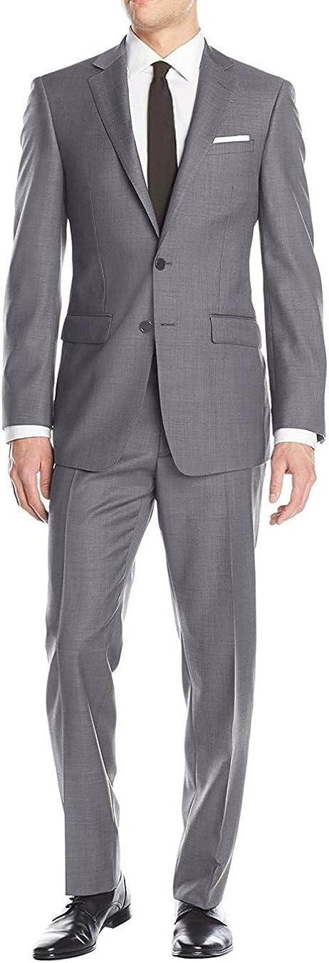 Luciano Natazzi Men's Two Button 2 Piece Birdseye Suit Modern Fit Jacket Pant