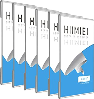 HIIMIEI 6 Pack 8.5x11 Acrylic Wall Sign Holder Adhesive with 3M Tape, Clear Door Plastic Portrait Holder, Ads Frames for Pictures Bonus 3M Tape for Office Store Classroom