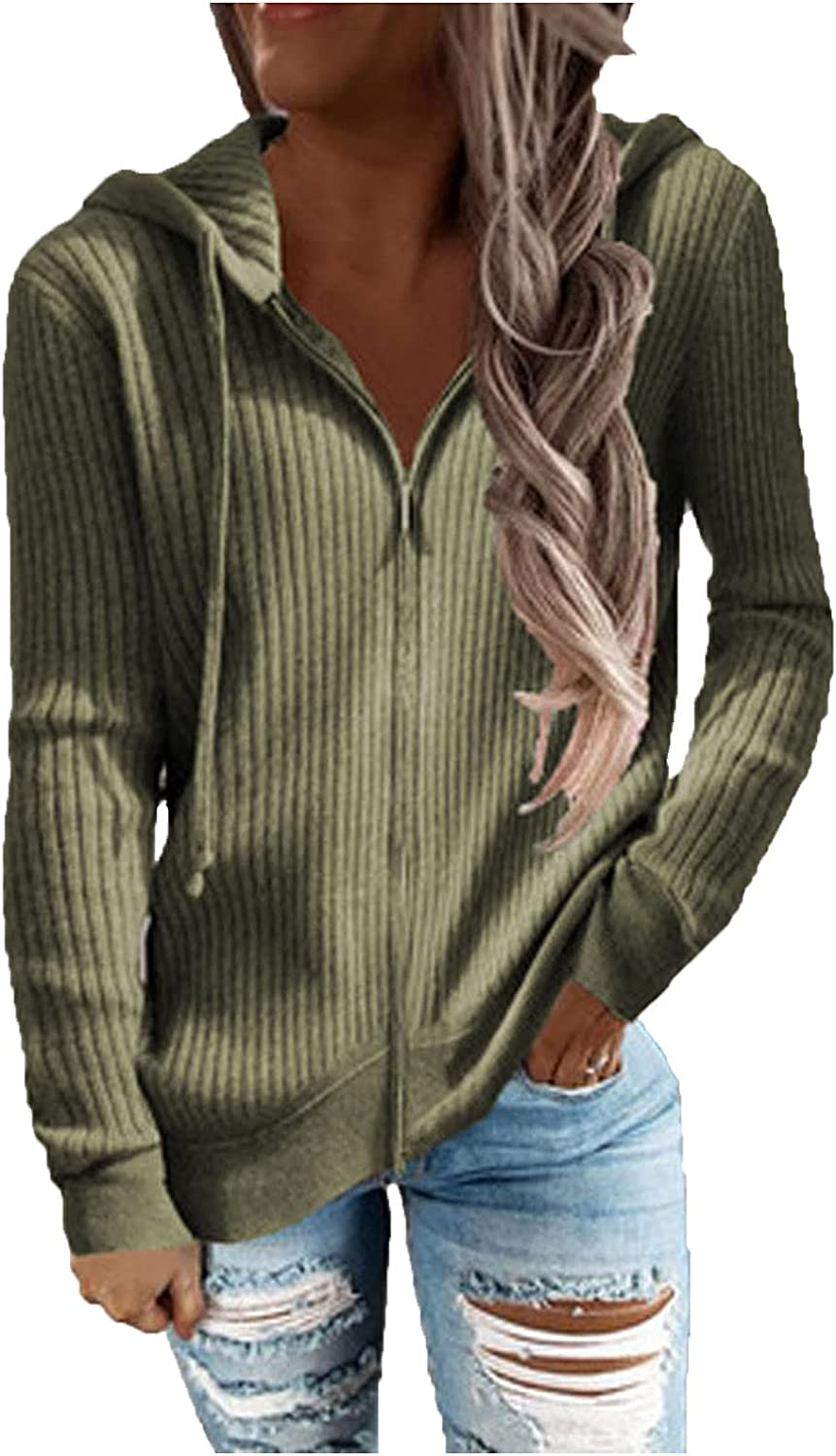 Women's Long Sleeve Direct store Hooded Sweatshirt Solid Color Casual up Zip Max 54% OFF