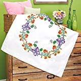 Kamaca - Set per ricamo a punto croce, motivo farfalle e fiori, 100% cotone, 80 x 80 cm