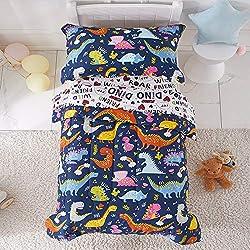 3. Joyreap Navy Toddler Dinosaur Bedding Set